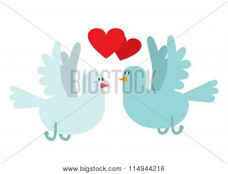 Doves couple with hearts vector icon illustration