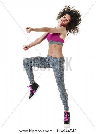 woman zumba dancer dancing fitness exercises