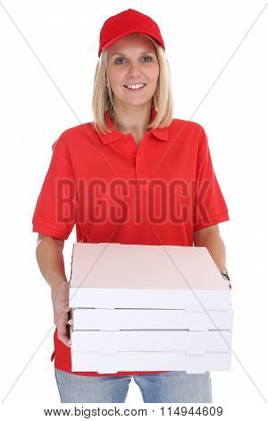 Pizza Delivery Woman Order Delivering Job Young Isolated