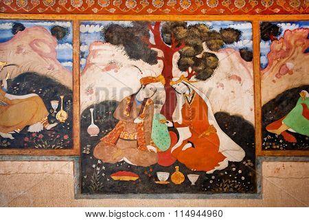 Beautiful Woman And Man Drinking Tea In The Garden On The Fresco In Iran