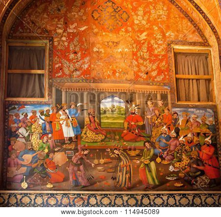 Dinner With Belly Dances In The King Palace On The Wall Fresco In Palace Chehel Sotoun In Iran.