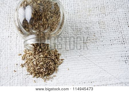 cumin seeds in a glass container