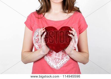 Young Beautiful Girl With Long Dark Wavy Hair