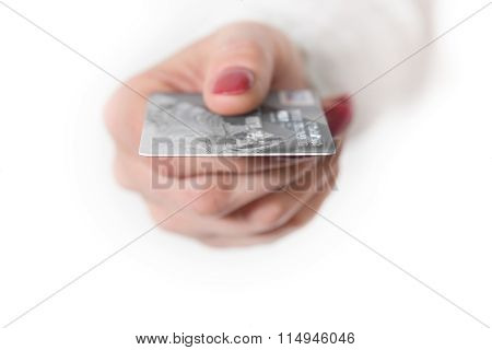 Female Hand Holding Silver Bank Card