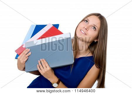 Cheerful Girl In A Blue Dress With Folders For Documents Looking Up