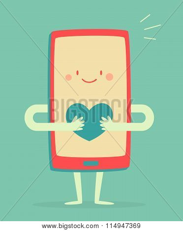 Happy Smartphone Holding A Heart