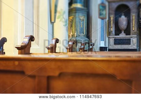 Wooden Benches At The Old Cathedral