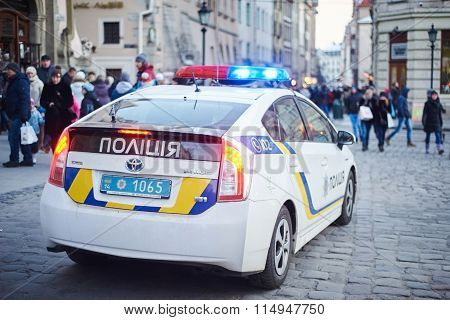 New Ukrainian Pro-american Police On Rynok Square In Lviv