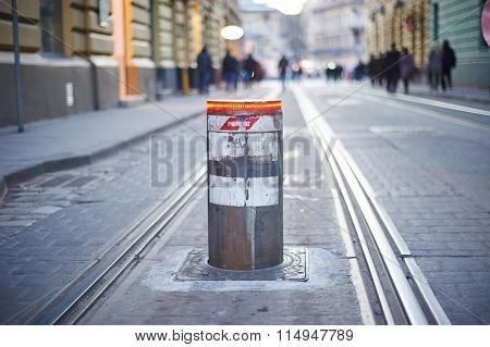 Retractable Bollards With A Red Light. Lviv, Ukraine