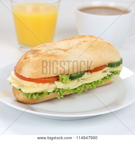 Healthy Eating Sub Sandwich Baguette For Breakfast With Cheese And Orange Juice