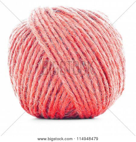 Red Wool Skein, Knitting Yarn Roll Isolated On White Background