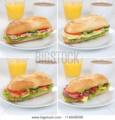 Healthy Eating Collection Of Sub Sandwiches For Breakfast With Ham, Salami, Cheese And Orange Juice