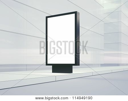 Blank lightbox on the empty street. Glass facades of buildings   background. 3d render