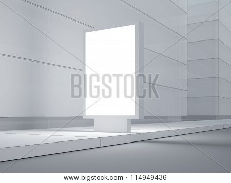 White lightbox on the empty street. Modern buildings in background. 3d render