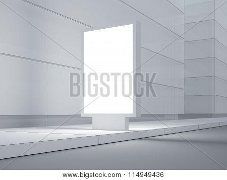 White lightbox on the empty street. Modern buildings in background. 3d render
