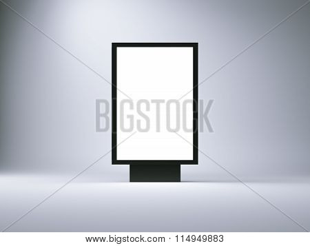 Black lightbox in the empty studio. Blank wall background. 3d render