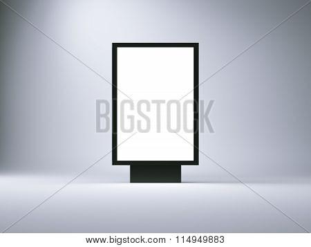 Black lightbox in the empty studio. Blank wall background. 3d render