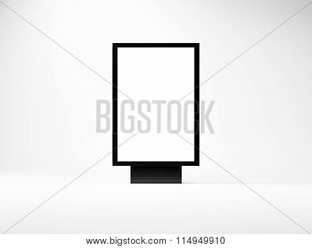 Black empty lightbox in the studio. Blank white wall background. 3d render