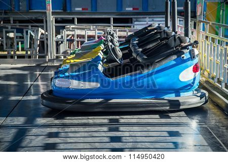 blue bumper cars