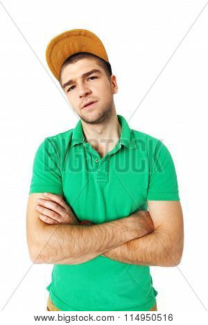 Young Man Saw Something Disgusting - Isolated On White.