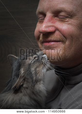 Man and cat - two profiles