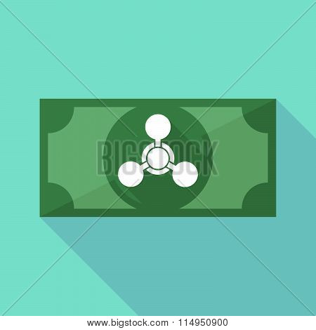 Long Shadow Banknote Icon With A Chemical Weapon Sign