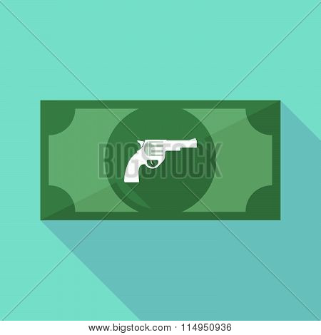 Long Shadow Banknote Icon With A Gun