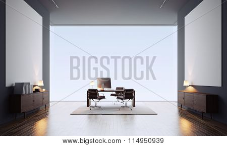 Concept of contemporary office interior with two blank white canvas. 3d render