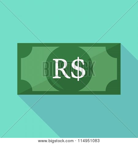 Long Shadow Banknote Icon With A Brazillian Real Currency Sign