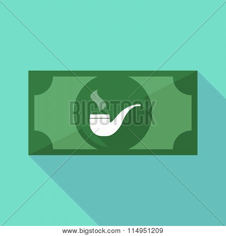 Long Shadow Banknote Icon With A Smoking Pipe