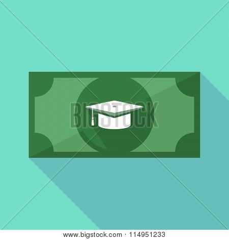 Long Shadow Banknote Icon With A Graduation Cap