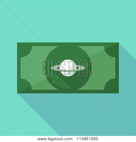 Long Shadow Banknote Icon With The Planet Saturn