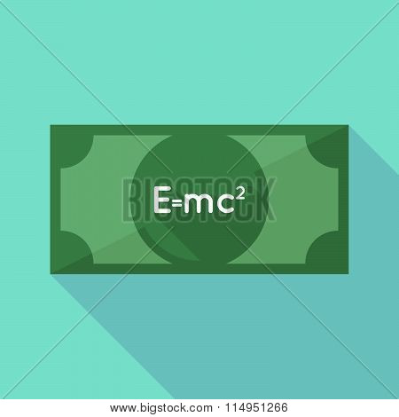 Long Shadow Banknote Icon With The Theory Of Relativity Formula
