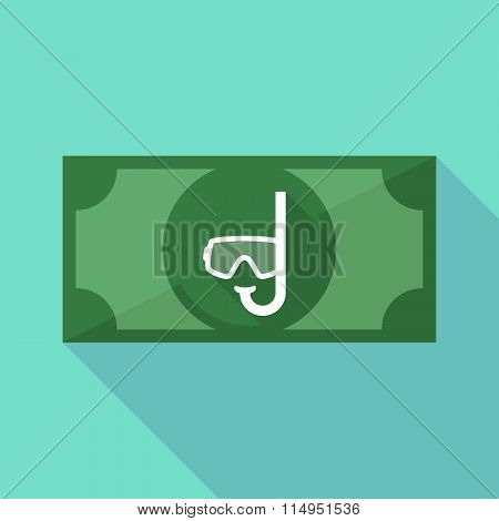 Long Shadow Banknote Icon With A Diving Goggles