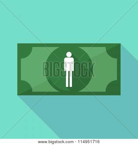 Long Shadow Banknote Icon With A Male Pictogram