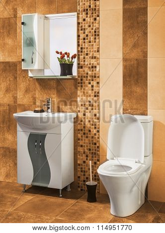 Beautiful And Stylish Bathroom Decorated With Flowers With Orange Tiles