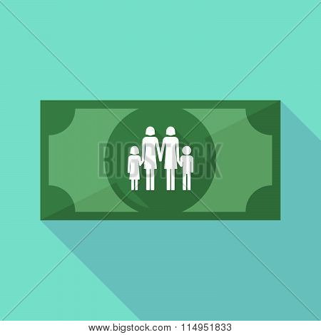 Long Shadow Banknote Icon With A Lesbian Parents Family Pictogram