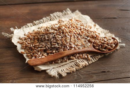 Uncooked Whole Spelt With A Wooden Spoon