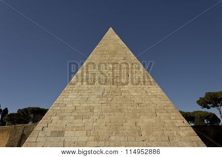 Architectural Close Up Of The Pyramid Of Cestius