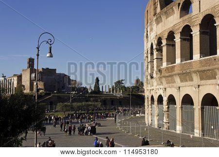 Piazza Del Colosseo In Rome