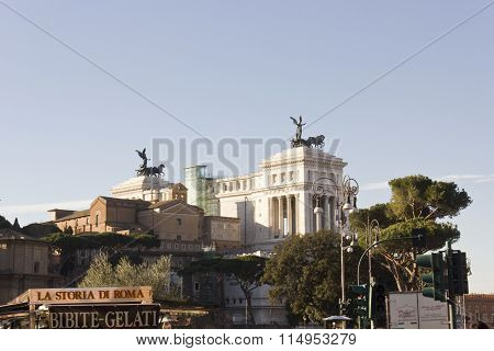 View From The Distance Of The Altar Of The Fatherland In Rome