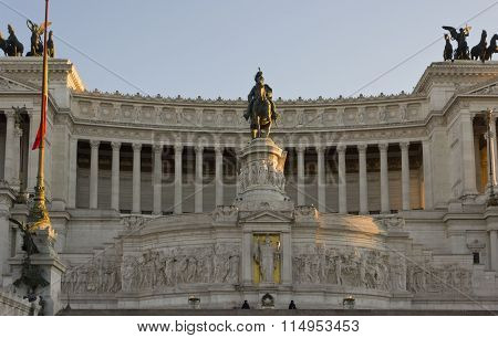 Day Close Up Of The Equestrian Statue Of Emmanuel Ii In Rome, The Altar