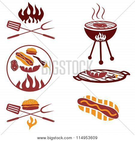 Bbq Set Of Meat,hot Dog And Burger