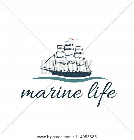 Illustration Marine Life With Frigate