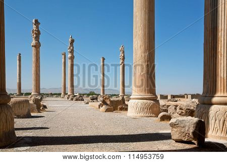 Tall Columns In Area Of Ruined City Persepolis, Built In 6Th Century Bc. World Heritage Site