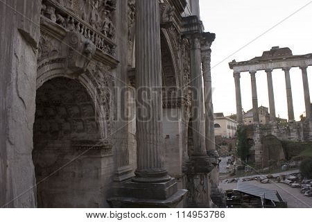 Architectural Close Up Of The Arch Of Septimius Severus