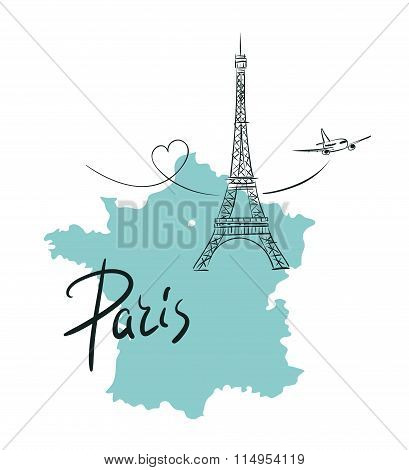 Hand drawn illustration with Eiffel tower. Paris