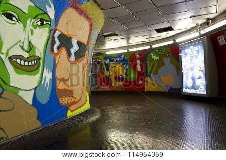 Vivid Mural In The Corridor Of Rome metro