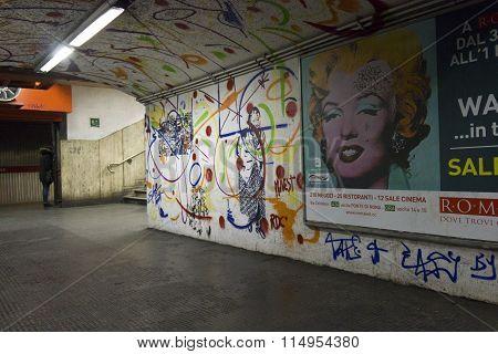 Mural In The Corridor Of Rome metro station