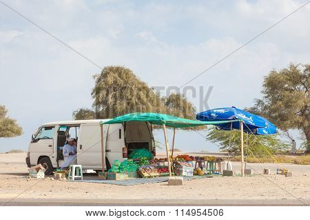 Fruit And Vegetables Vendor In Muscat, Oman